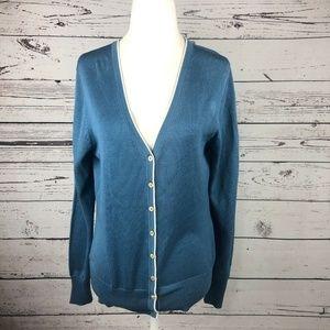 Brooks Brothers Blue Silk VNeck Button Up Cardigan